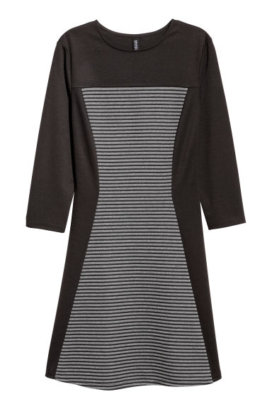 Ribbed jersey dress - Dark grey -  | H&M CN