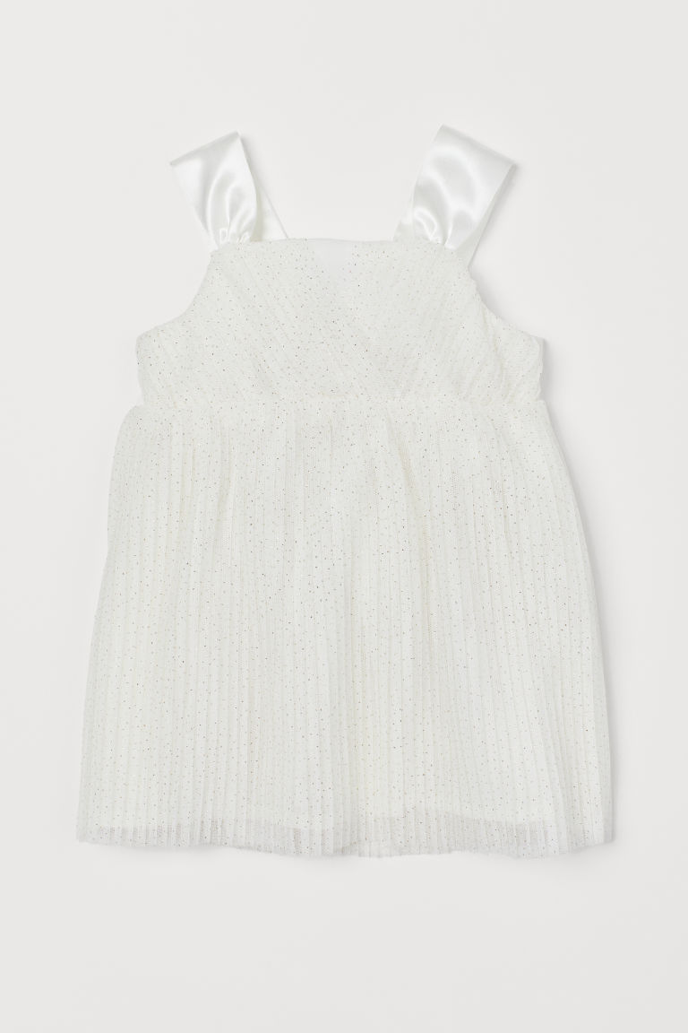 Pleated tulle dress - Natural white - Kids | H&M