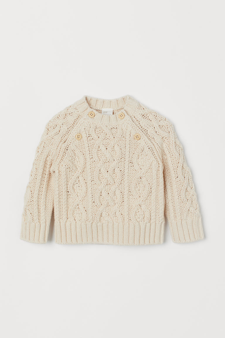 Cable-knit Cotton Sweater - Natural white - Kids | H&M CA