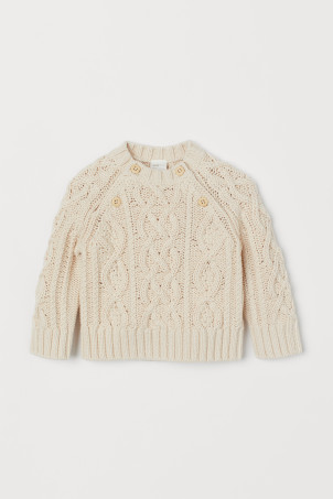 Cable-knit cotton jumper