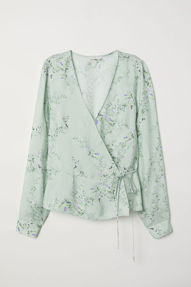 Patterned wrapover blouse - Dusky green/Floral - Ladies | H&M CN