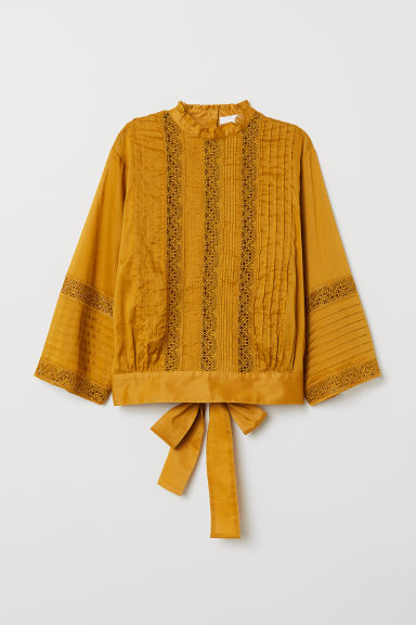 Cotton blouse with lace - Dark yellow -  | H&M CN