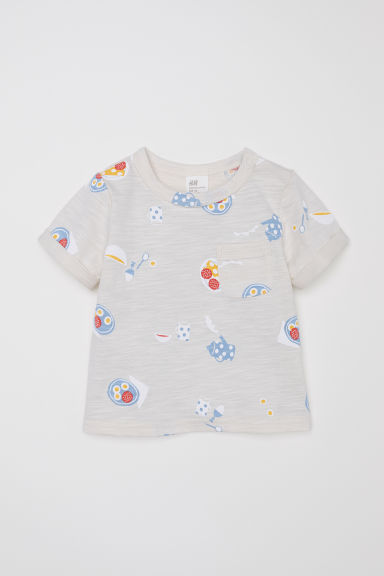 T-shirt with a chest pocket - Light beige/Breakfast - Kids | H&M