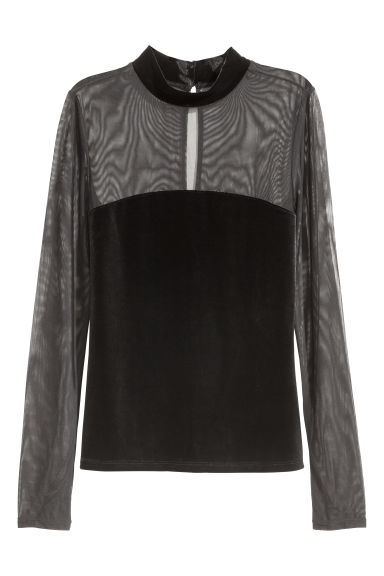 Velour top with mesh - Black -  | H&M