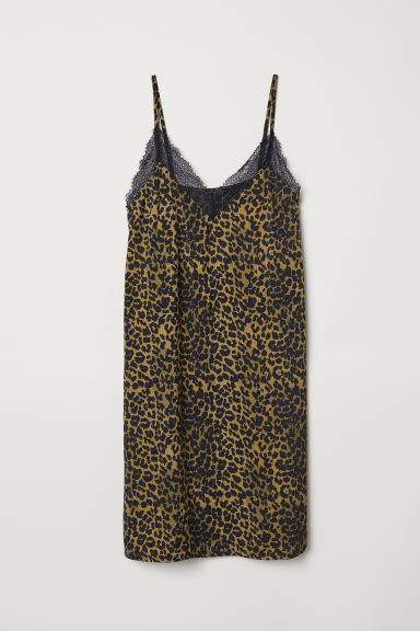 Satin nightslip - Black/Leopard print - Ladies | H&M CN