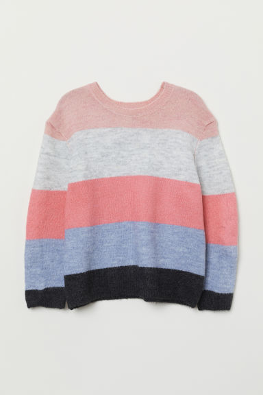 Fine-knit jumper - Pink/Block-coloured - Kids | H&M CN