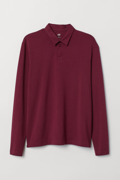 Polo shirt Slim Fit - Burgundy - Men | H&M IN