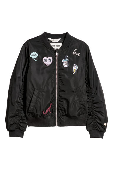 Bomber jacket with appliqués - Black/Appliqués - Kids | H&M