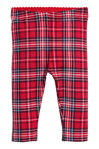 Patterned leggings - Red/Checked - Kids | H&M CN