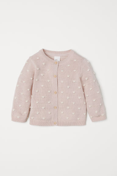 Textured-knit cardigan - Powder pink - Kids | H&M