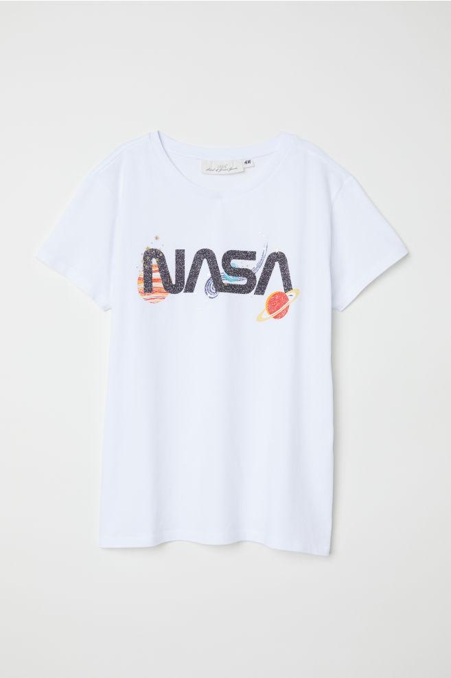 614ec9b8c3 Nyomott mintás póló - Fehér/NASA - NŐI | H&M ...