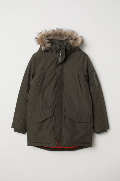 Padded parka - Dark khaki green - Kids | H&M