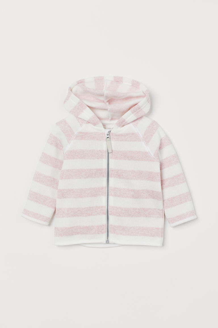 Knitted fleece jacket - Pink/Striped - Kids | H&M GB