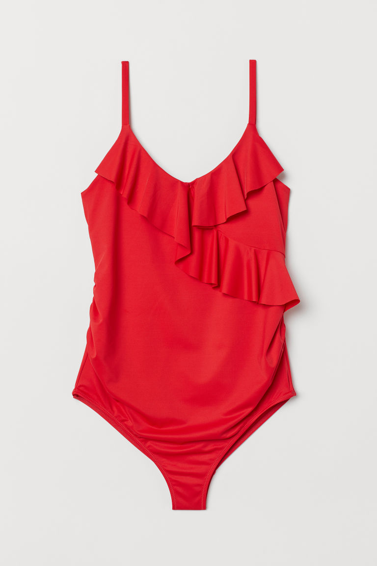 röd baddräkt dam