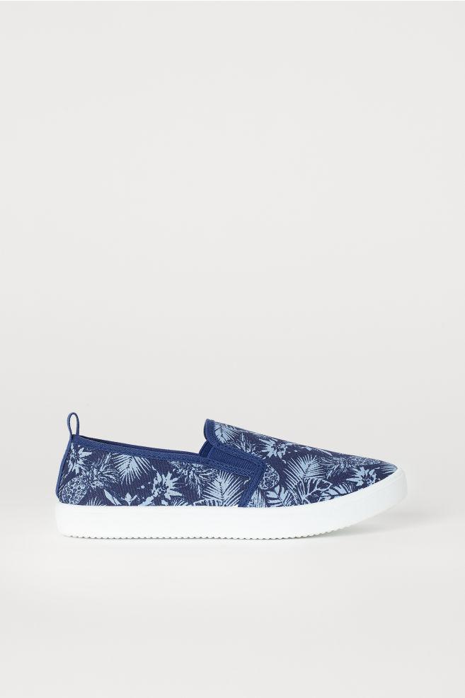 ac9f227fbed36 Slip-on Shoes - Dark blue/patterned - Kids | H&M ...
