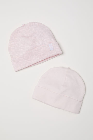 2-pack jersey hats - Powder pink - Kids | H&M CN