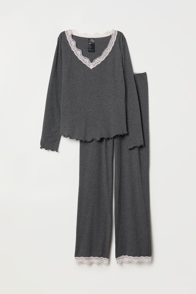 Pyjamas - Dark grey marl - Ladies | H&M CN