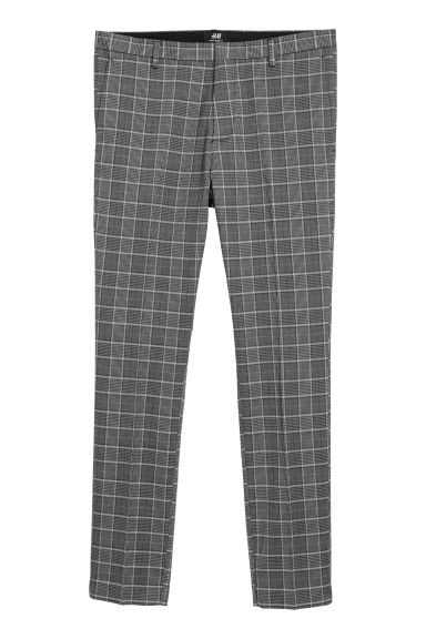 Suit trousers Super skinny fit - Dark grey/Checked - Men | H&M
