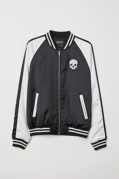Satin bomber jacket - Black/Skull - Men | H&M
