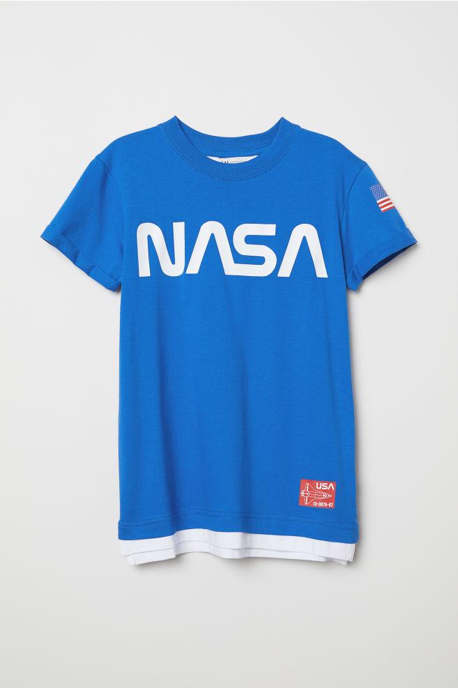 5bd40c37c0 Nyomott mintás póló - Kék/NASA - GYEREK | H&M ...