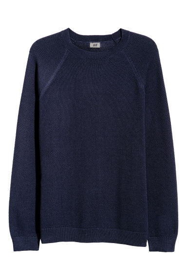 Knitted pima cotton jumper - Dark blue -  | H&M