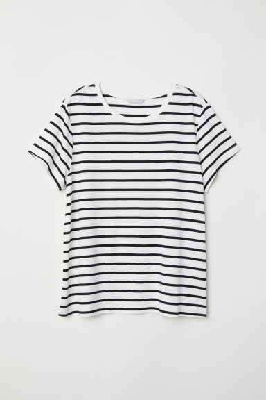 Glossy jersey top - White/Black striped - Ladies | H&M GB