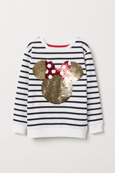 Long-sleeved top - White/Reversible sequins - Kids | H&M CN