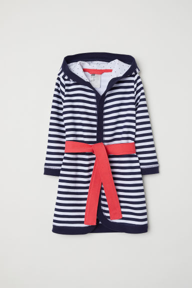 Dressing gown - Dark blue/Striped - Kids | H&M CN