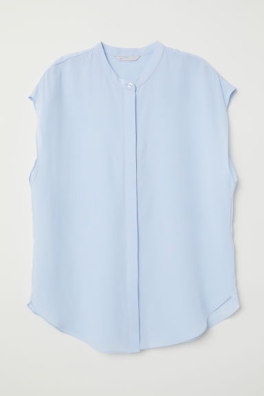 Short-sleeved silk blouse - Light blue - Ladies | H&M CN