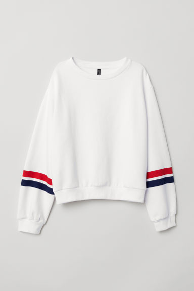 Short sweatshirt - White/Stripes -  | H&M CN