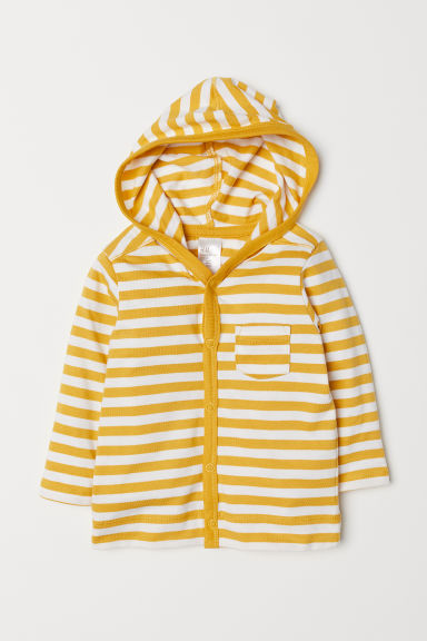 Jersey hooded cardigan - Yellow/White striped - Kids | H&M
