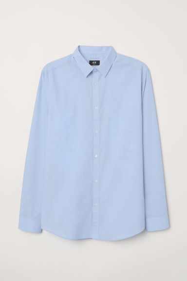 Easy-iron shirt Slim fit - Blue/Chambray - Men | H&M CN