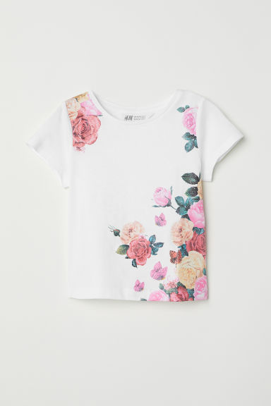 Printed jersey top - White/Flowers - Kids | H&M