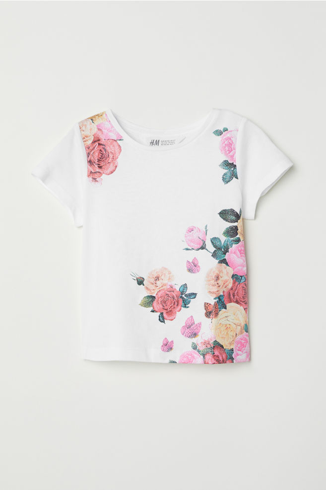 Jersey top with printed design whiteflowers hm us jersey top with printed design whiteflowers hm mightylinksfo