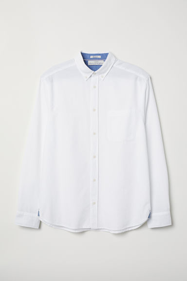 Cotton shirt Regular Fit - White - Men | H&M