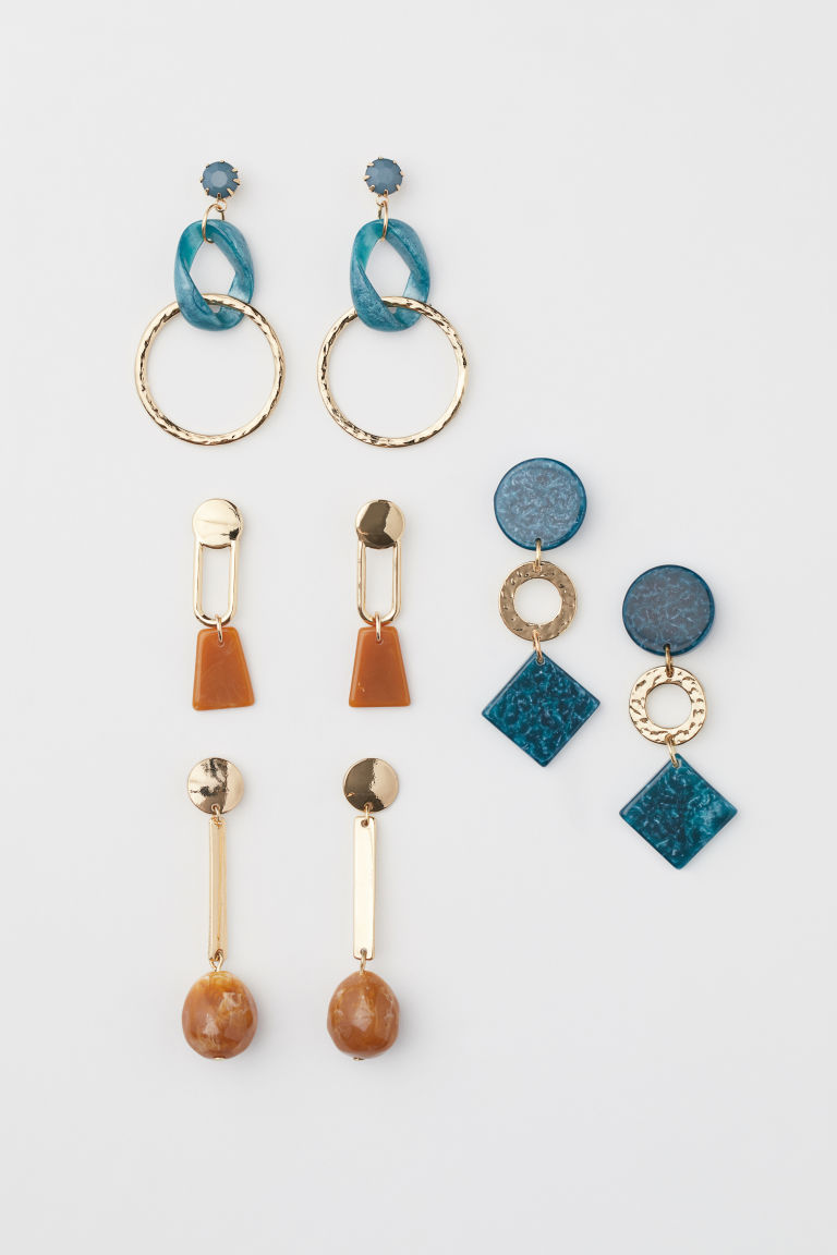 4 pairs earrings - Gold-coloured/Turquoise - Ladies | H&M CN