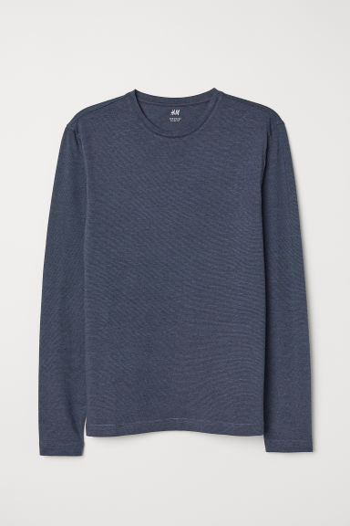 Long-sleeved jersey top - Blue/Narrow-striped - Men | H&M