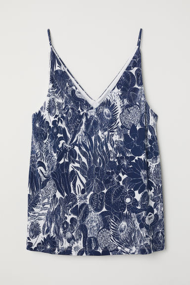 V-neck top - Dark blue/White patterned - Ladies | H&M