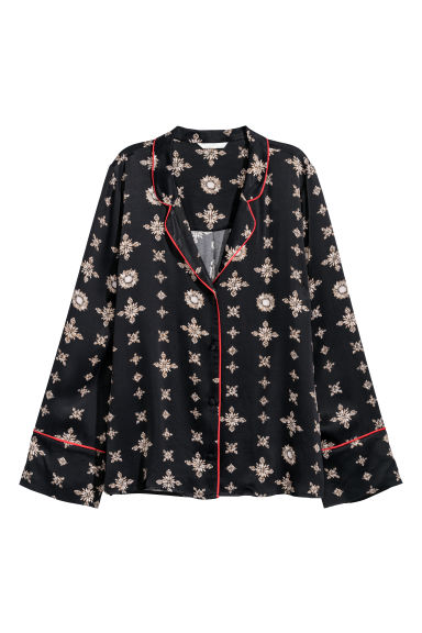Patterned shirt - Dark blue - Ladies | H&M CN