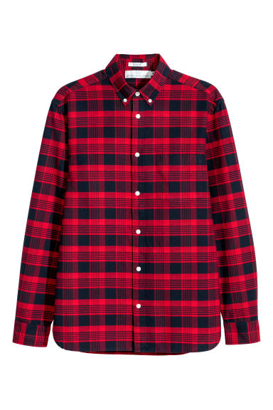 Chemise Oxford Regular fit - Rouge vif/carreaux -  | H&M CH