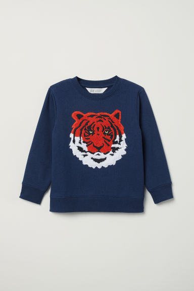 Appliquéd sweatshirt - Dark blue/Tiger - Kids | H&M
