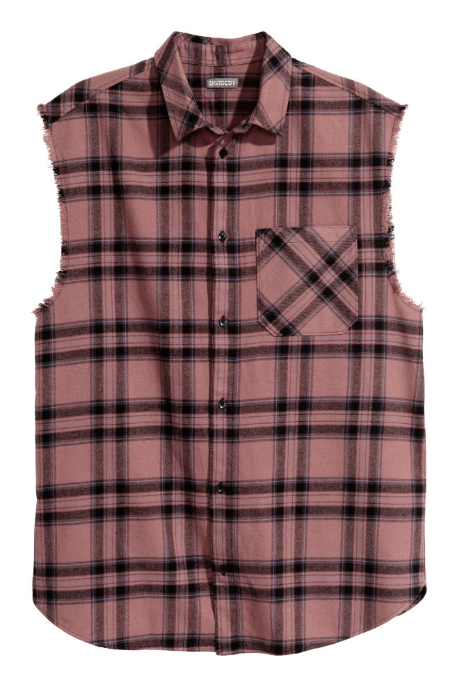 Sleeveless Flannel Shirt Pink Checked Men H M Gb