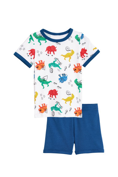 Pigiama in jersey - Bianco/dinosauri -  | H&M IT