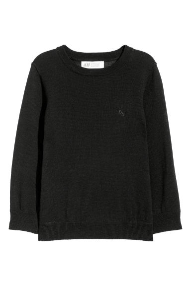 Merino wool jumper - Black - Kids | H&M CN
