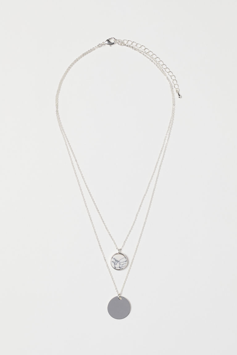 Two-strand necklace - Silver-coloured/White - Ladies | H&M GB