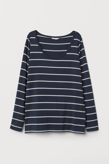 MAMA Nursing top - Dark blue/White striped - Ladies | H&M