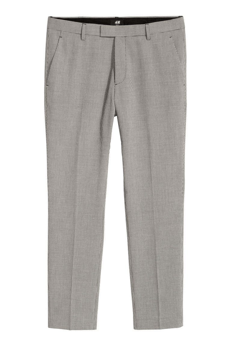 Suit trousers Slim fit - Black/Dogtooth - Men | H&M