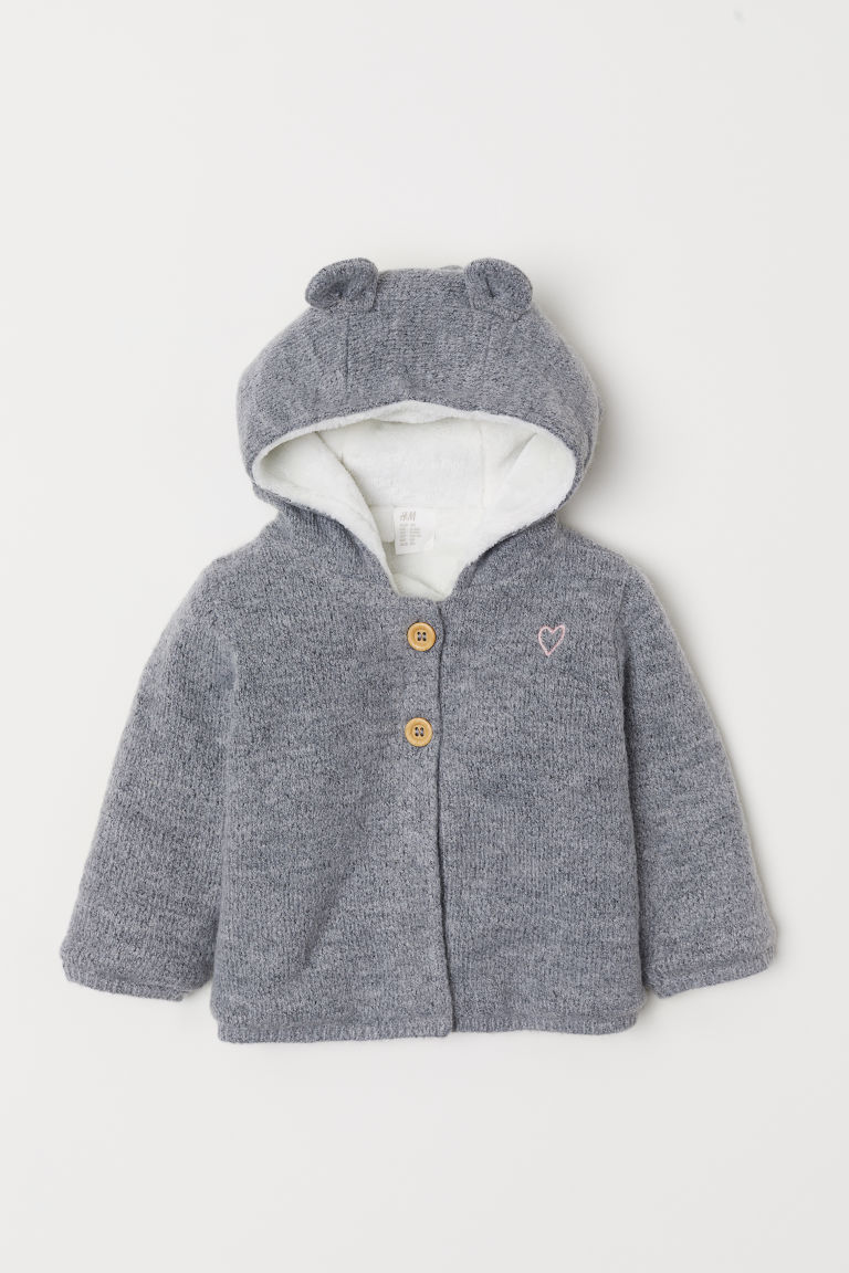 Pile-lined cardigan - Grey marl - Kids | H&M