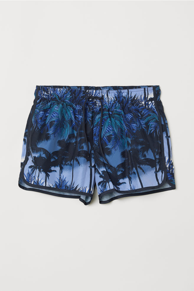 3349933a97c1 Short swim shorts - Blue/Palm trees - Men   H&M ...