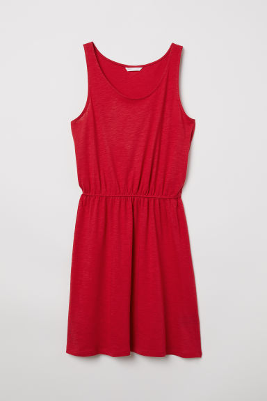 Sleeveless jersey dress - Raspberry red - Ladies | H&M CN